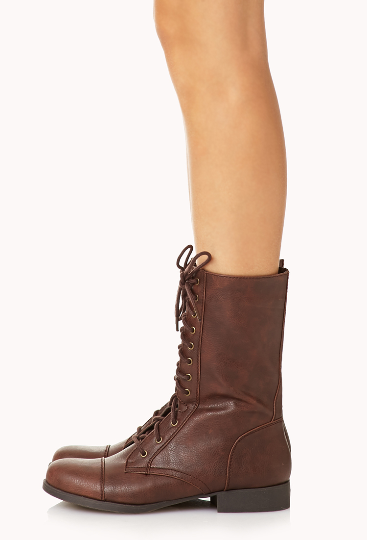 Lyst - Forever 21 Everyday Combat Boots in Brown