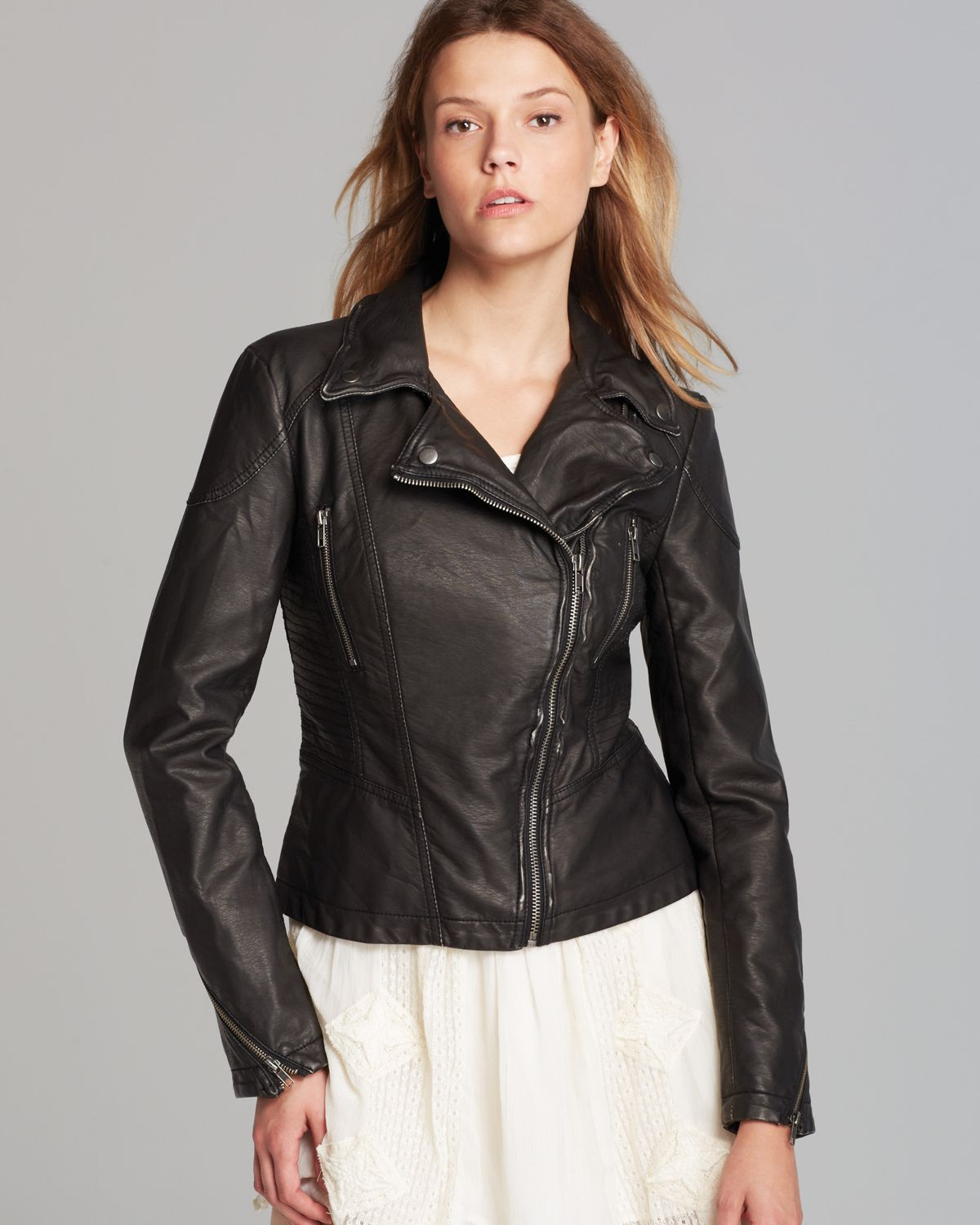 4334c651a8e92 Lyst - Free People Jacket - Distressed Faux Leather Peplum in Black