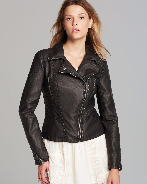 add4bd74b Free People Black Jacket - Distressed Faux Leather Peplum