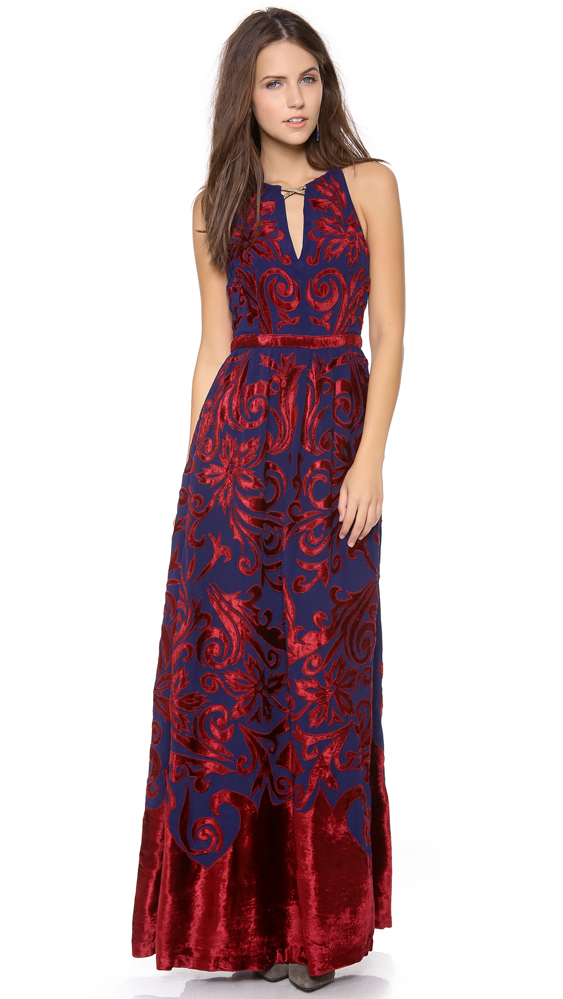 Free People Hedgemaze Maxi Dress in Indigo Combo (Red) - Lyst