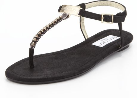 bbab9df7cbfd Jimmy Choo Nox Flat Crystal Thong Sandal Black in Black