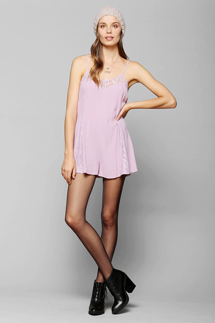541ae4f2913 Lyst - Urban Outfitters Pins and Needles Lace Inset Slip Romper in ...