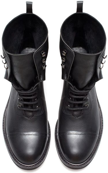 Zara Leather Ankle Boot With Turnover Flap In Black Lyst