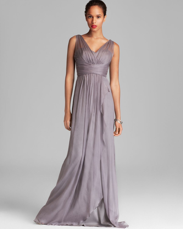 Lyst - Amsale Chiffon Ruffle Skirt Gown - V Neck in Purple