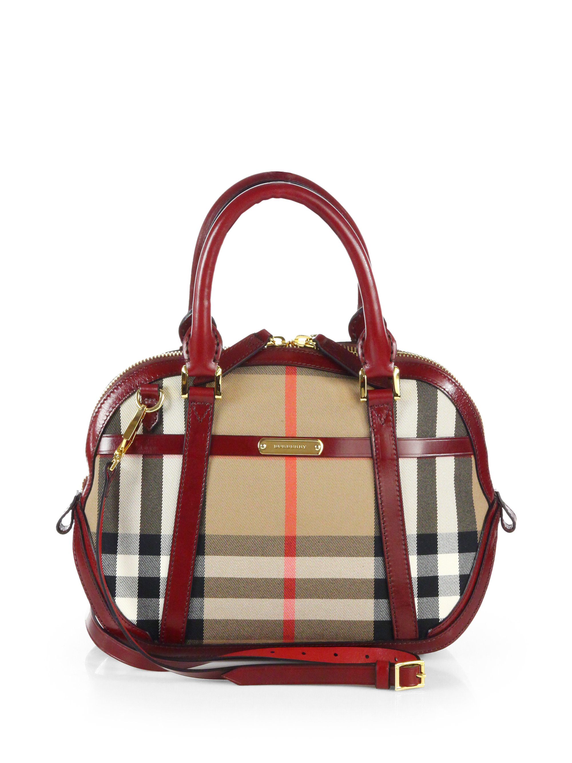 115abc3329a2 Lyst - Burberry Orchard Small Checkprint Bowling Bag in Red