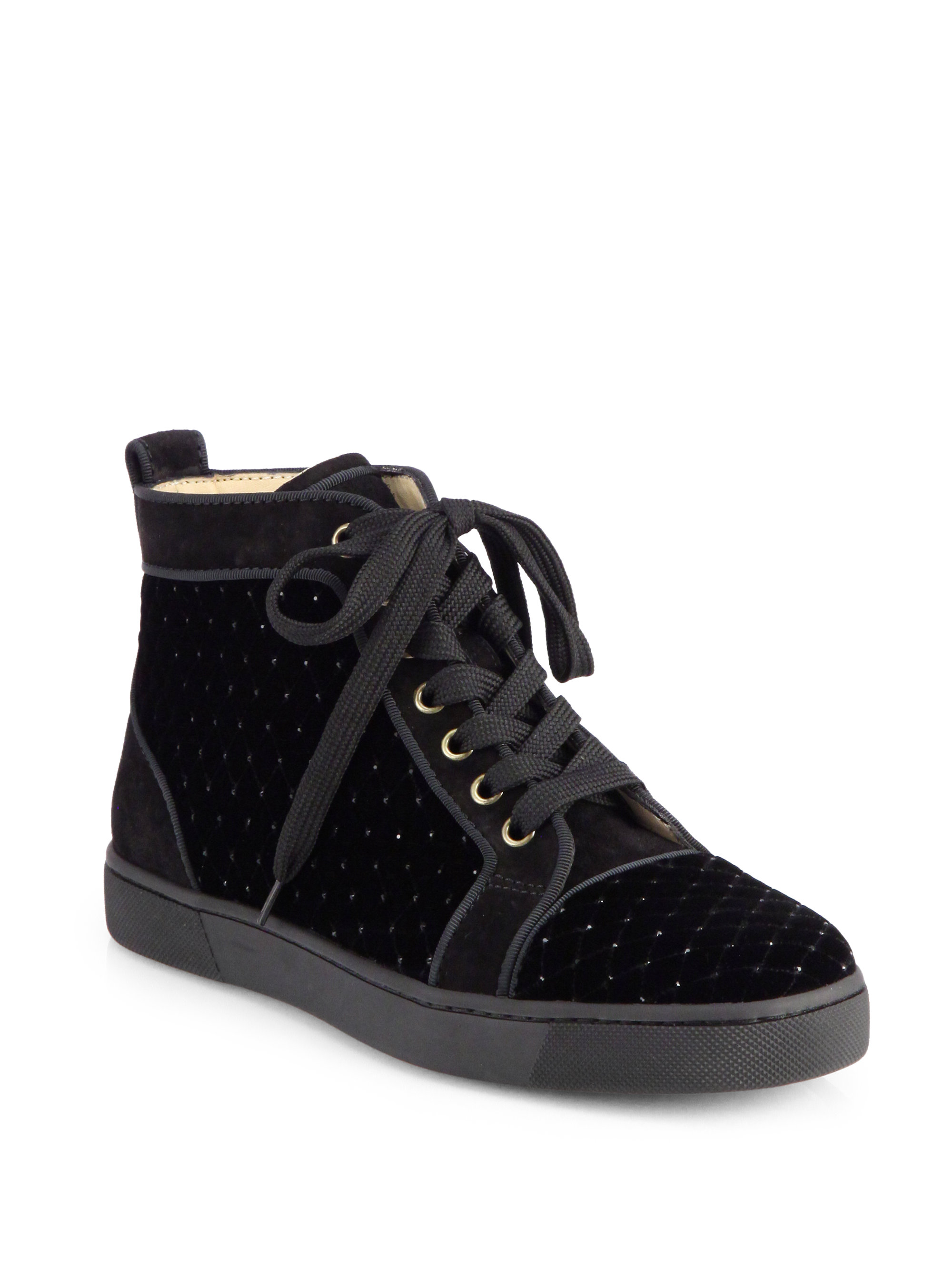 cf7b43af791c ... sweden lyst christian louboutin jeweled velvet suede laceup sneakers in  black 1e14a a8674