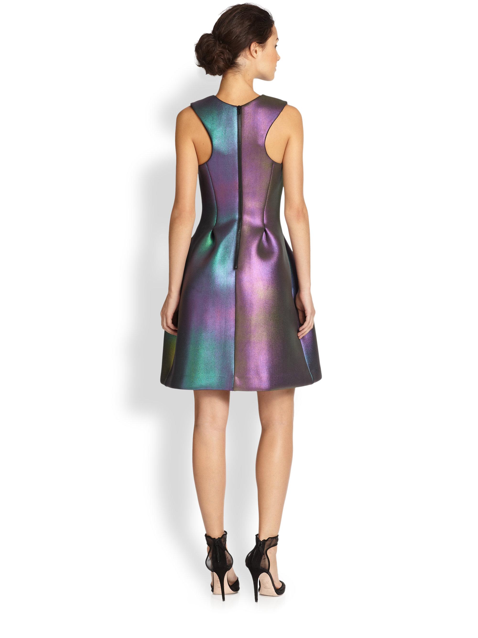Cynthia Rowley Seamed Iridescent Dress Lyst