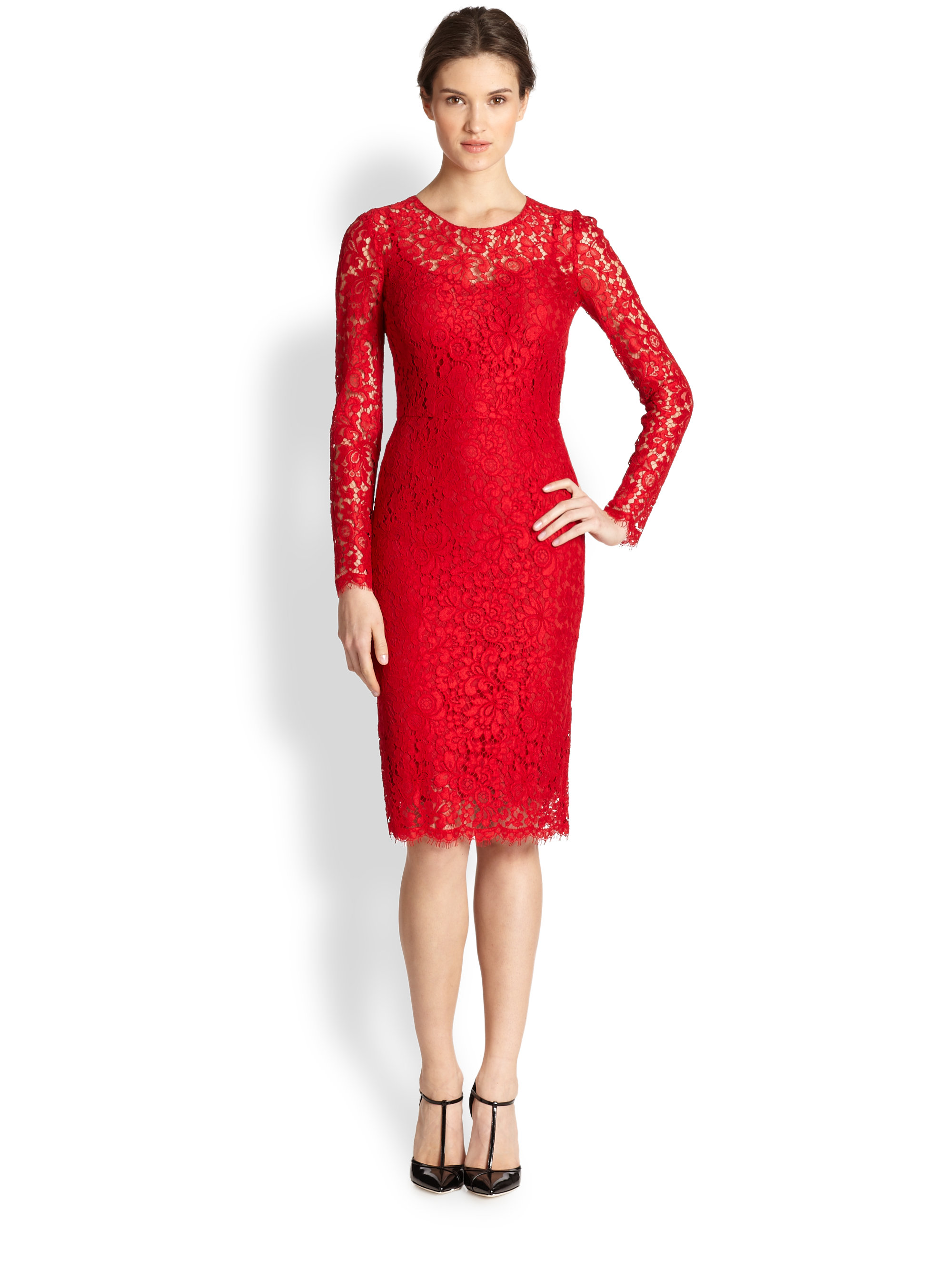 Dolce & gabbana Longsleeve Lace Dress in Red | Lyst