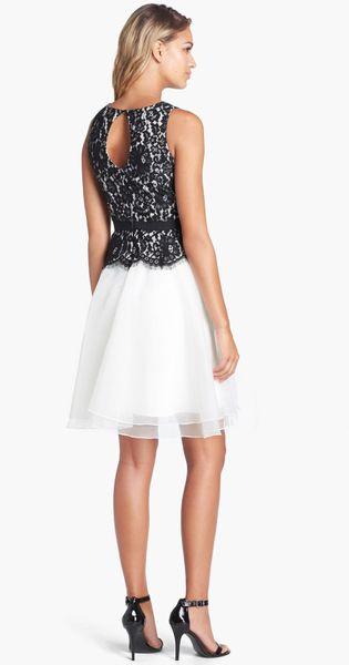 Eliza J Lace Bodice Fit Flare Dress In White Black Ivory