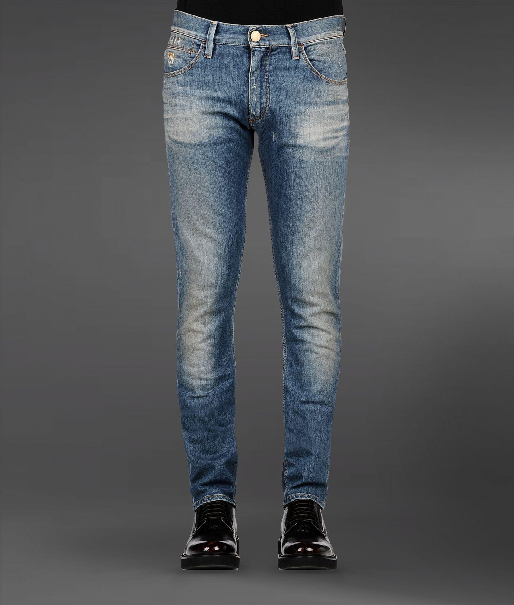 4a260b940e Emporio Armani Blue Regular Fit Medium Wash Jeans for men