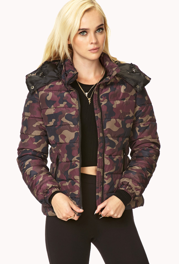 Forever 21 Cushy Camo Bomber Jacket In Red Burgundy Taupe