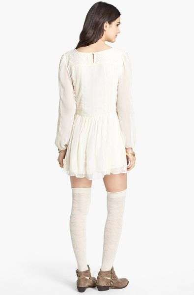 Free People Leigh Long Sleeve Lace Dress In White Ivory