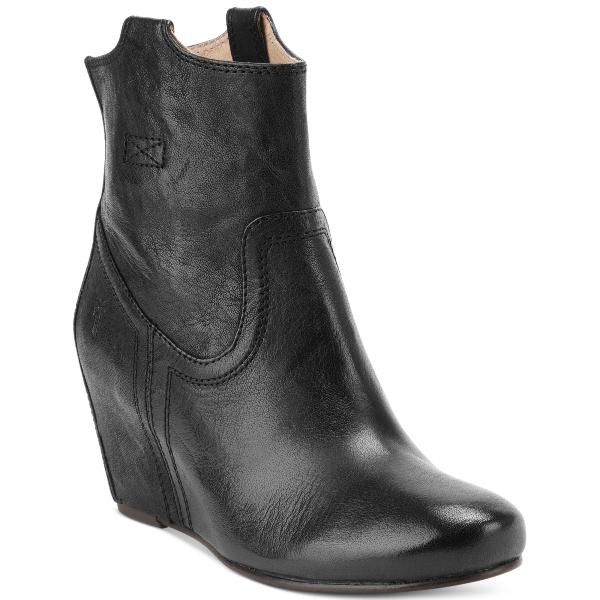 frye carson wedge booties in black lyst