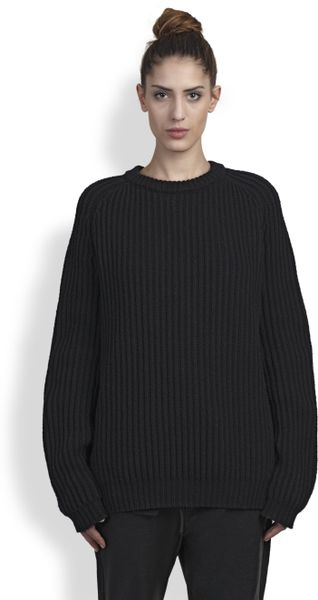 haider ackermann ribbed wool sweater in black lyst. Black Bedroom Furniture Sets. Home Design Ideas