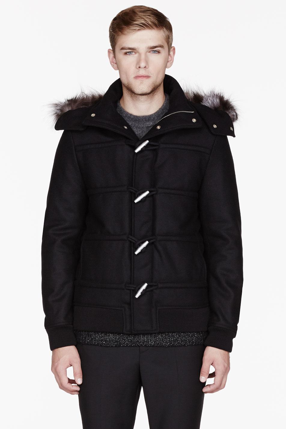 Kris van assche Black Wool and Fur Hooded Duffle Coat in Black for