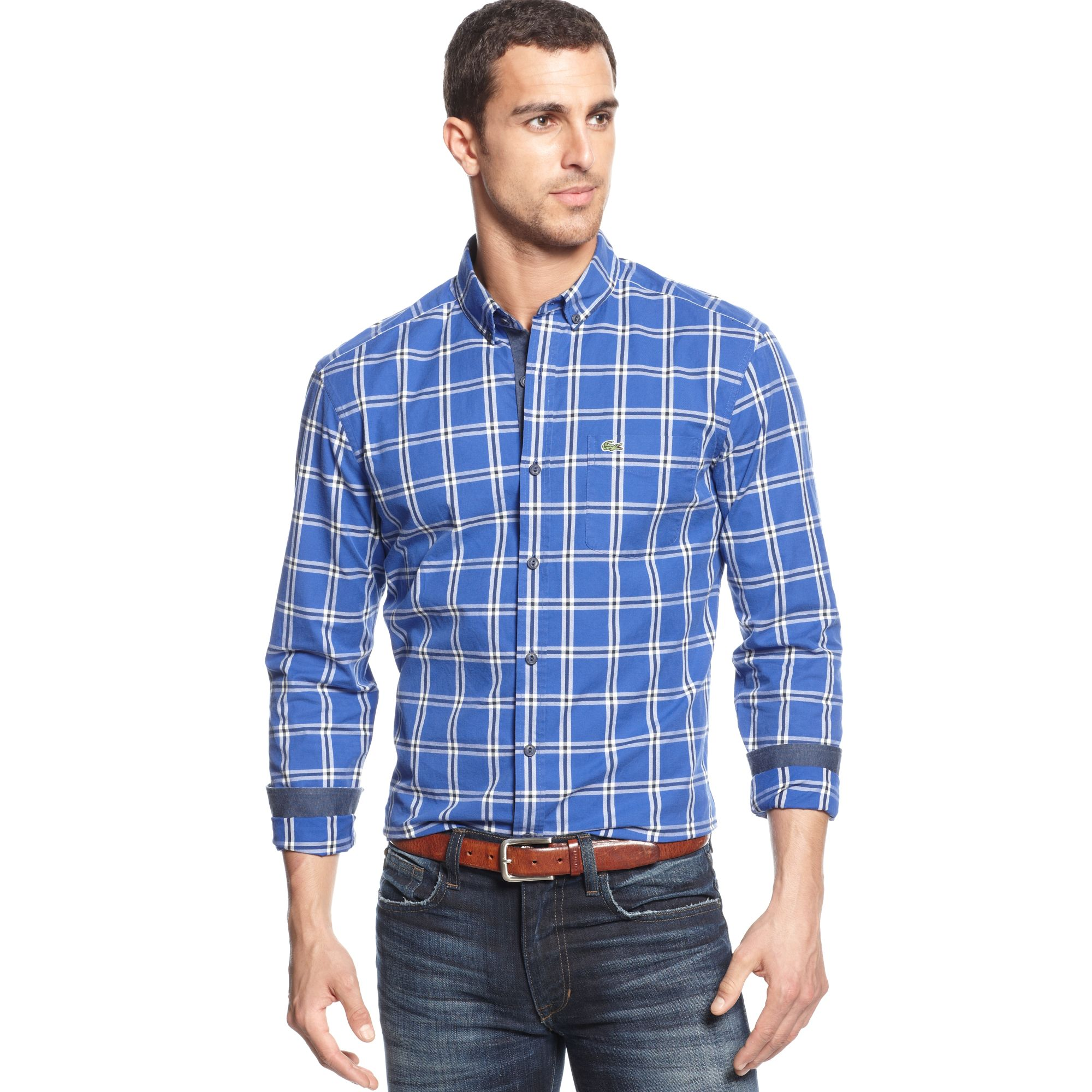 Lacoste Longsleeve Twill Plaid Shirt In Blue For Men Lyst