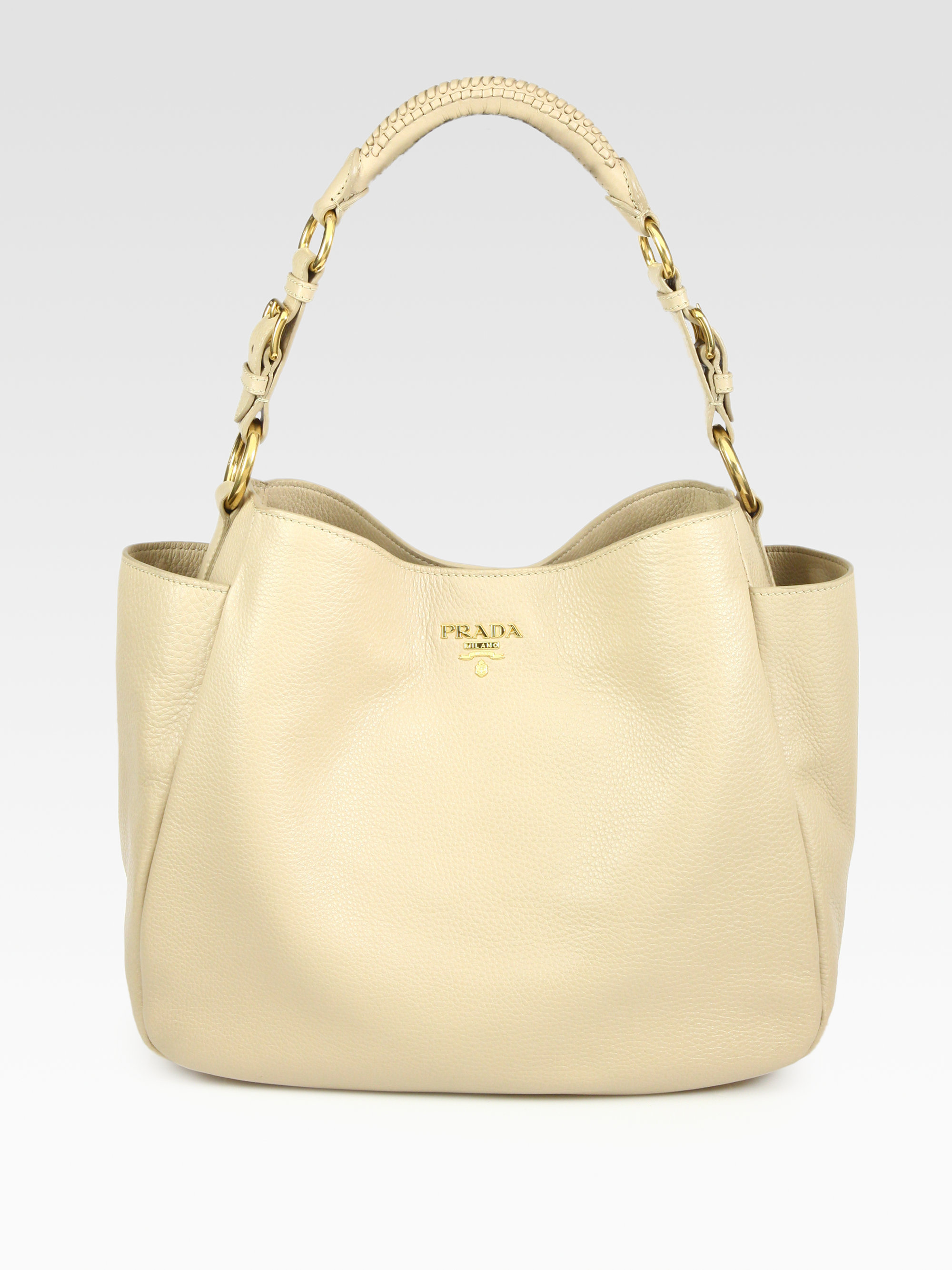 b63898cff623 ... coupon code lyst prada vitello daino hobo bag in natural dcede 1d20c