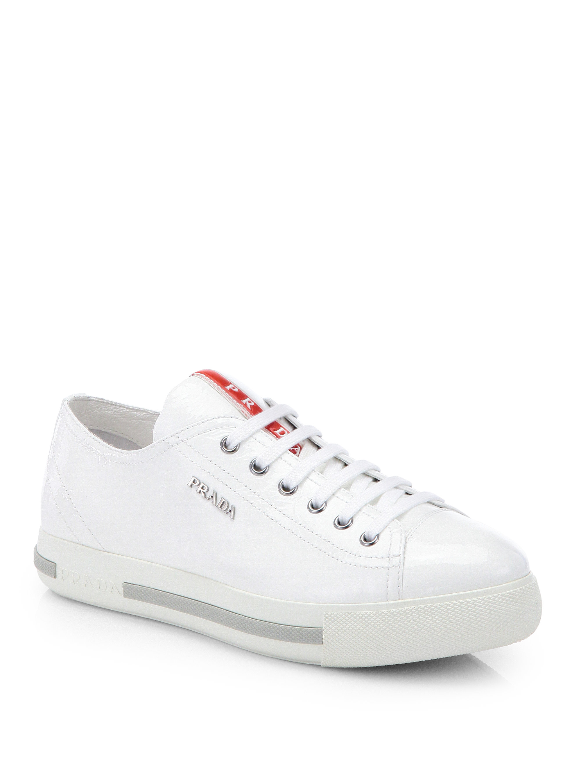 Sneakers In White Patent Lowtop Lyst Prada Leather CsxthQrBd