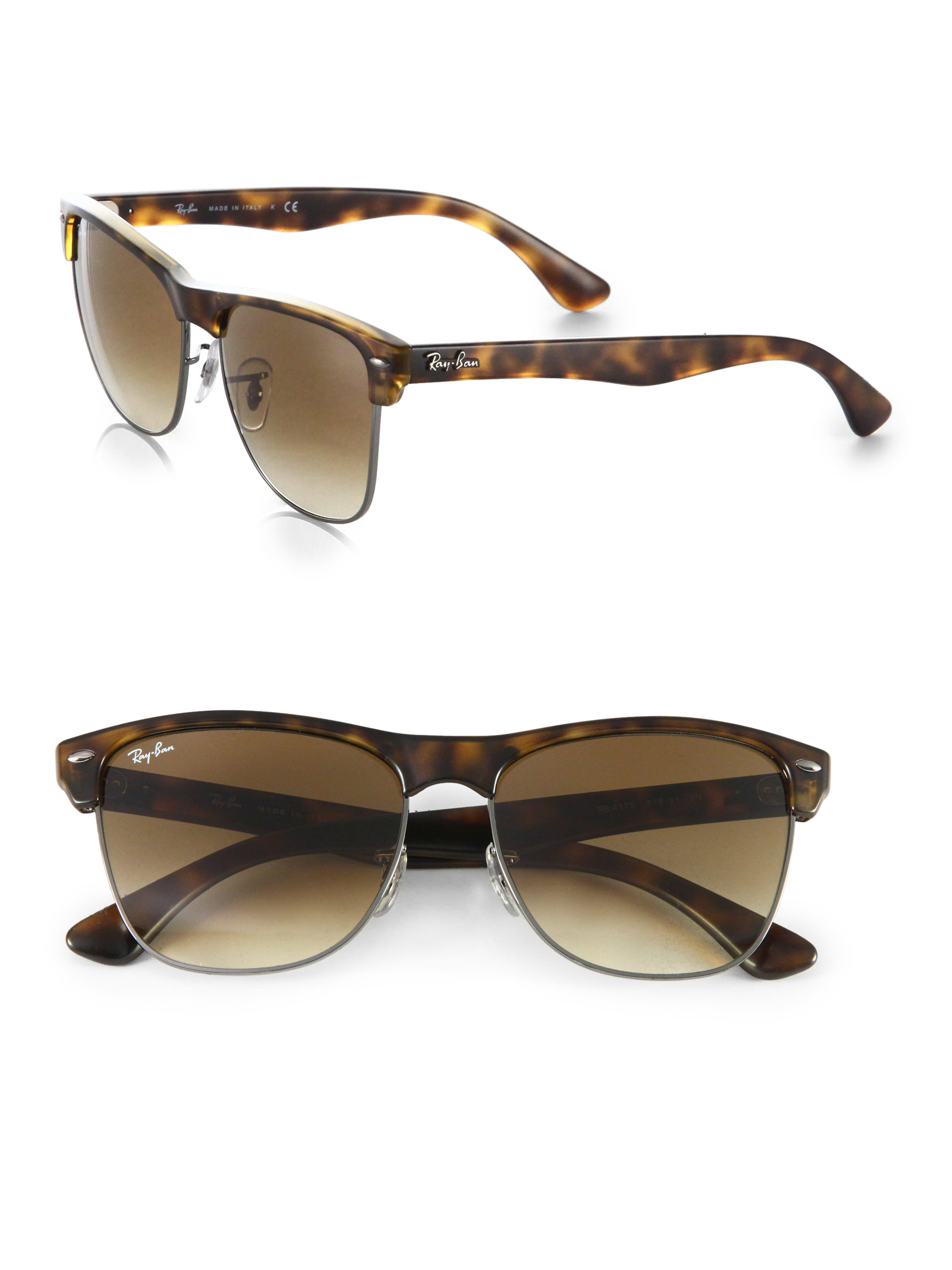 Ray-ban Large Round Clubmaster Sunglasses in Brown (HAVANA ...