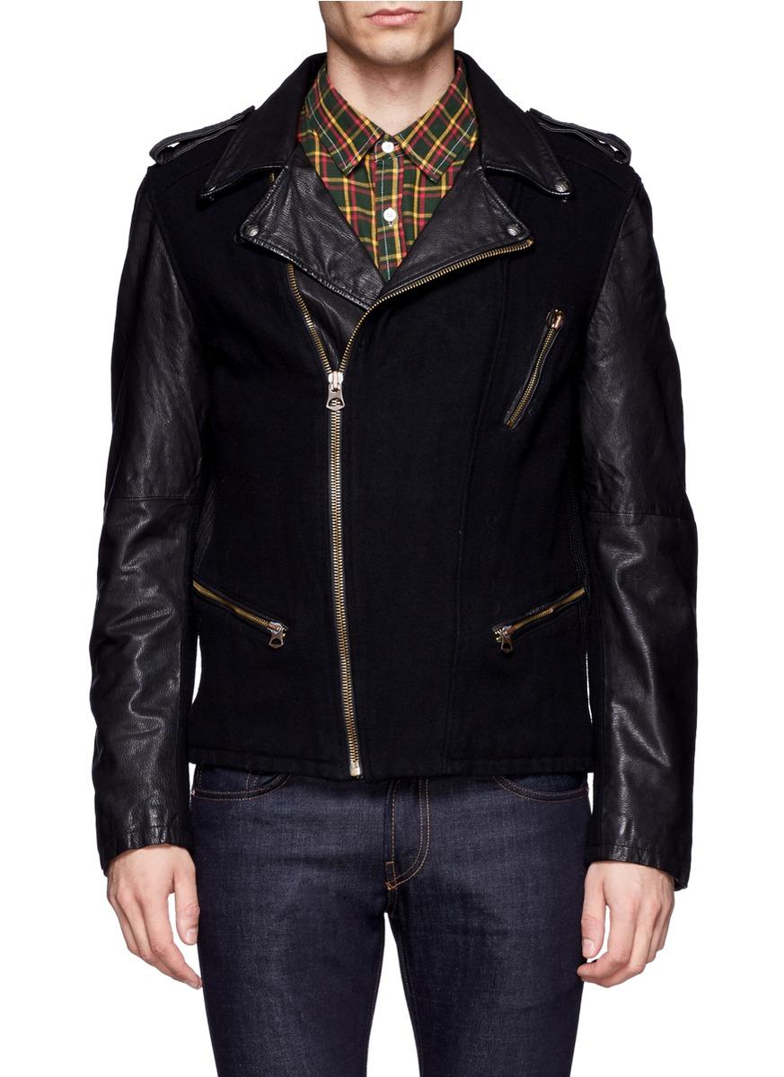 scotch soda leather and wool blend biker jacket in black for men. Black Bedroom Furniture Sets. Home Design Ideas