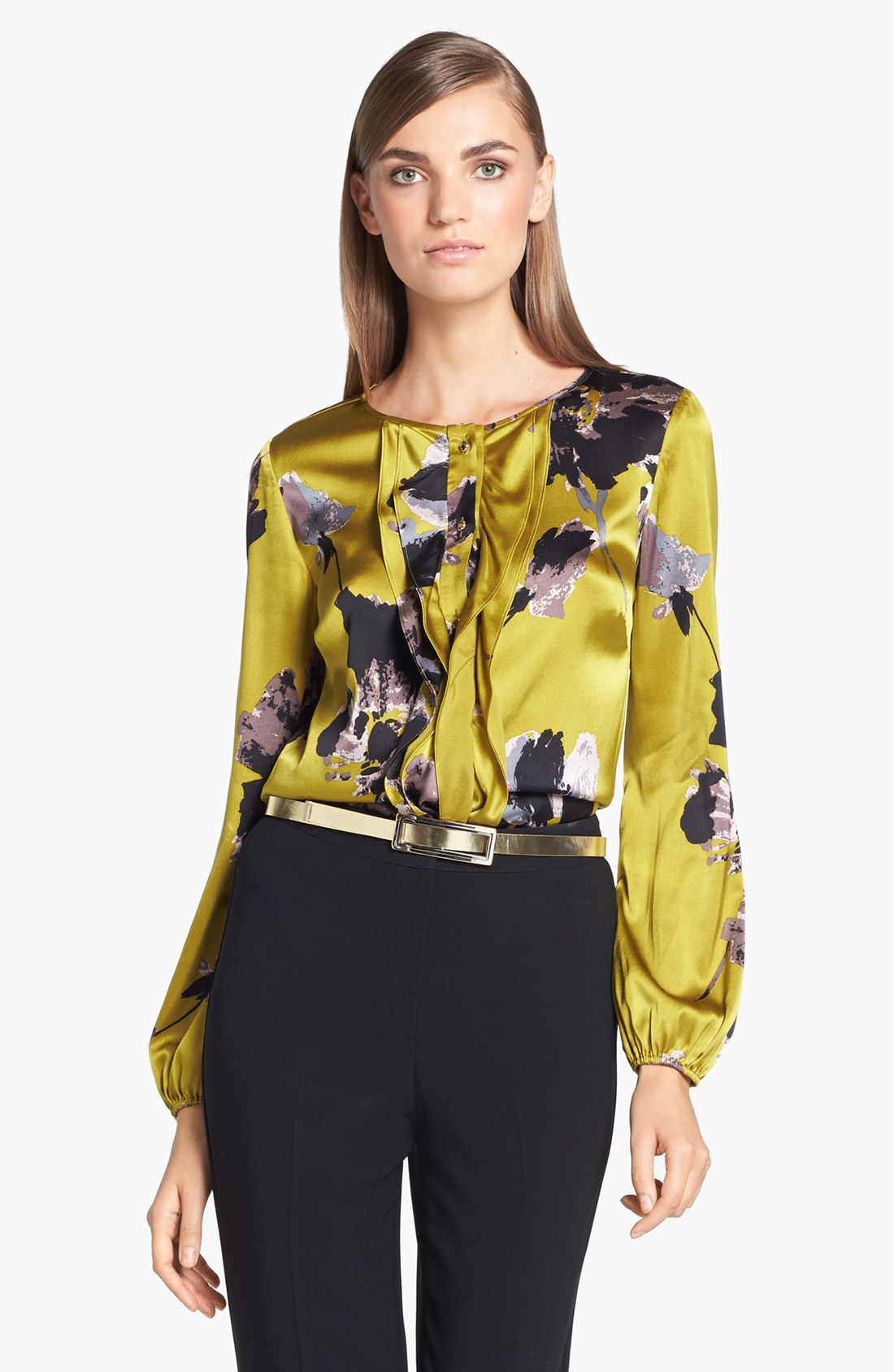 lyst st john bouquet print silk charmeuse blouse in yellow