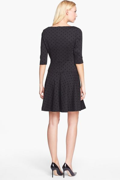 Tahari Flocked Dot Ponte Knit Fit Flare Dress In Black Lyst