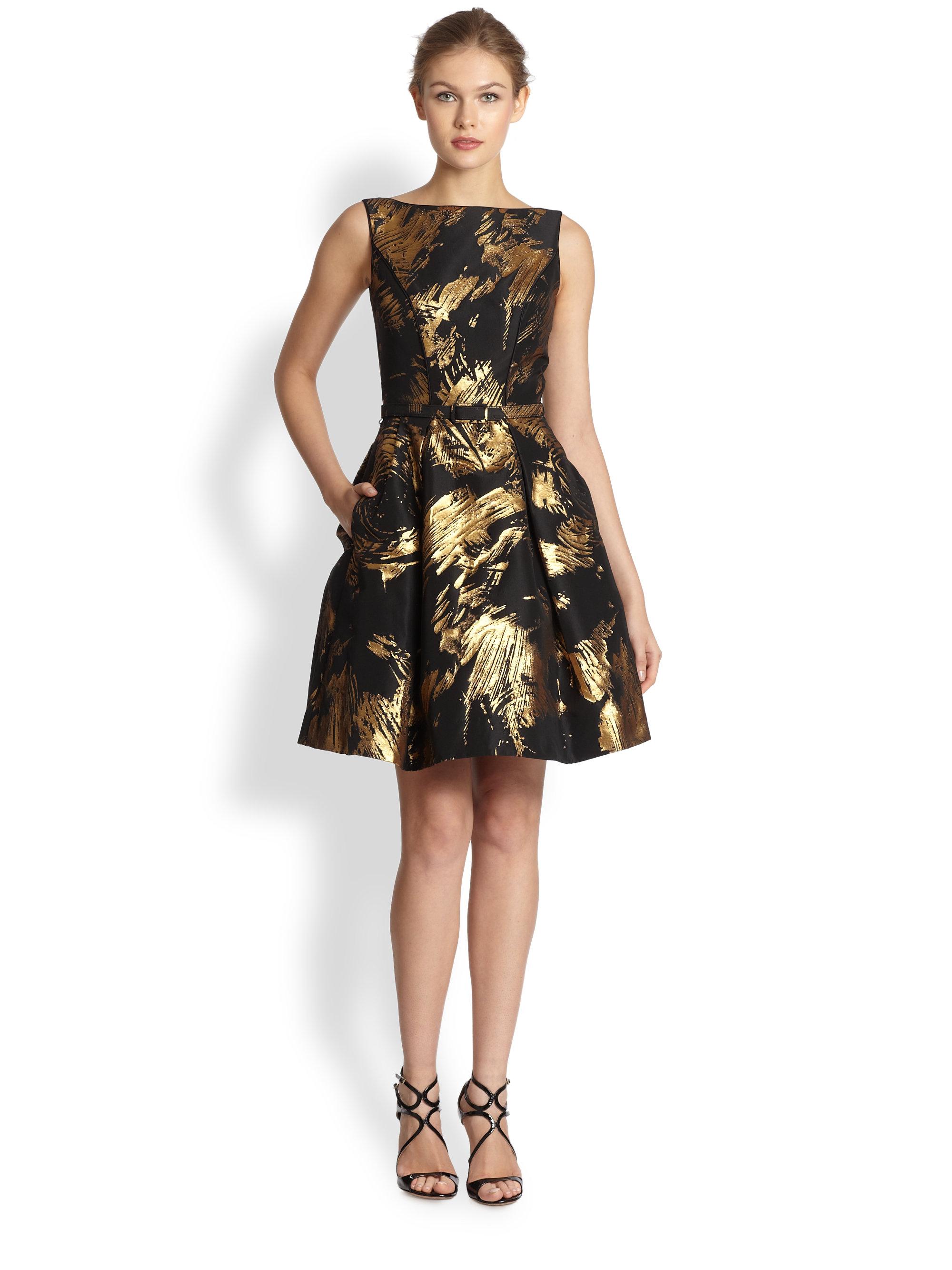 Theia Bateau Neck Cocktail Dress In Black Gold Black Lyst
