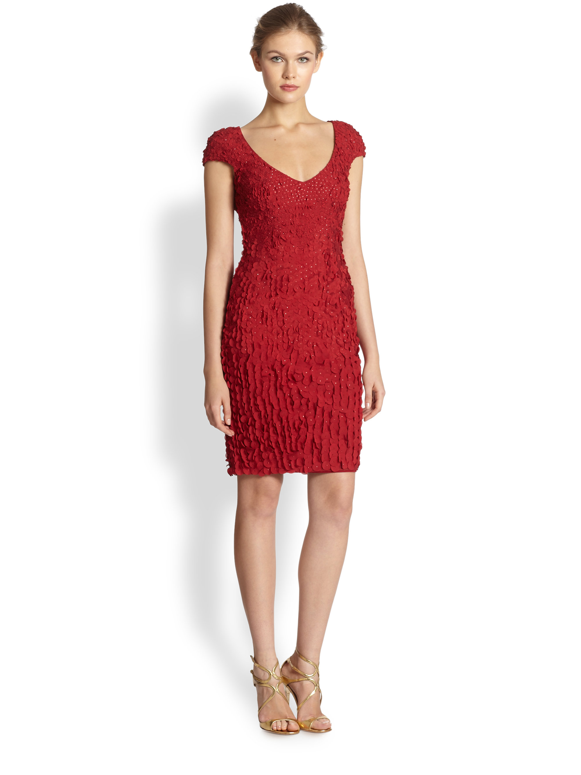 Lyst - Theia Petal Cocktail Dress in Red