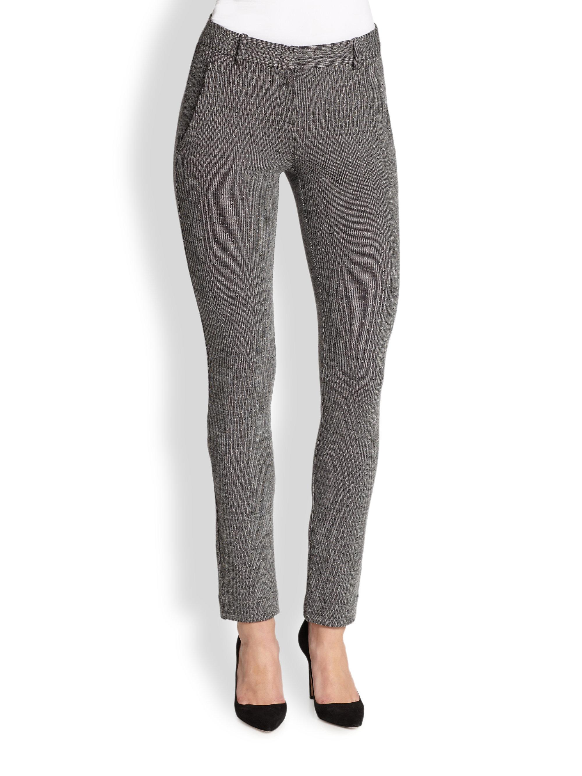 Theory Rowa Skinny Tweed Pants In Gray Lyst