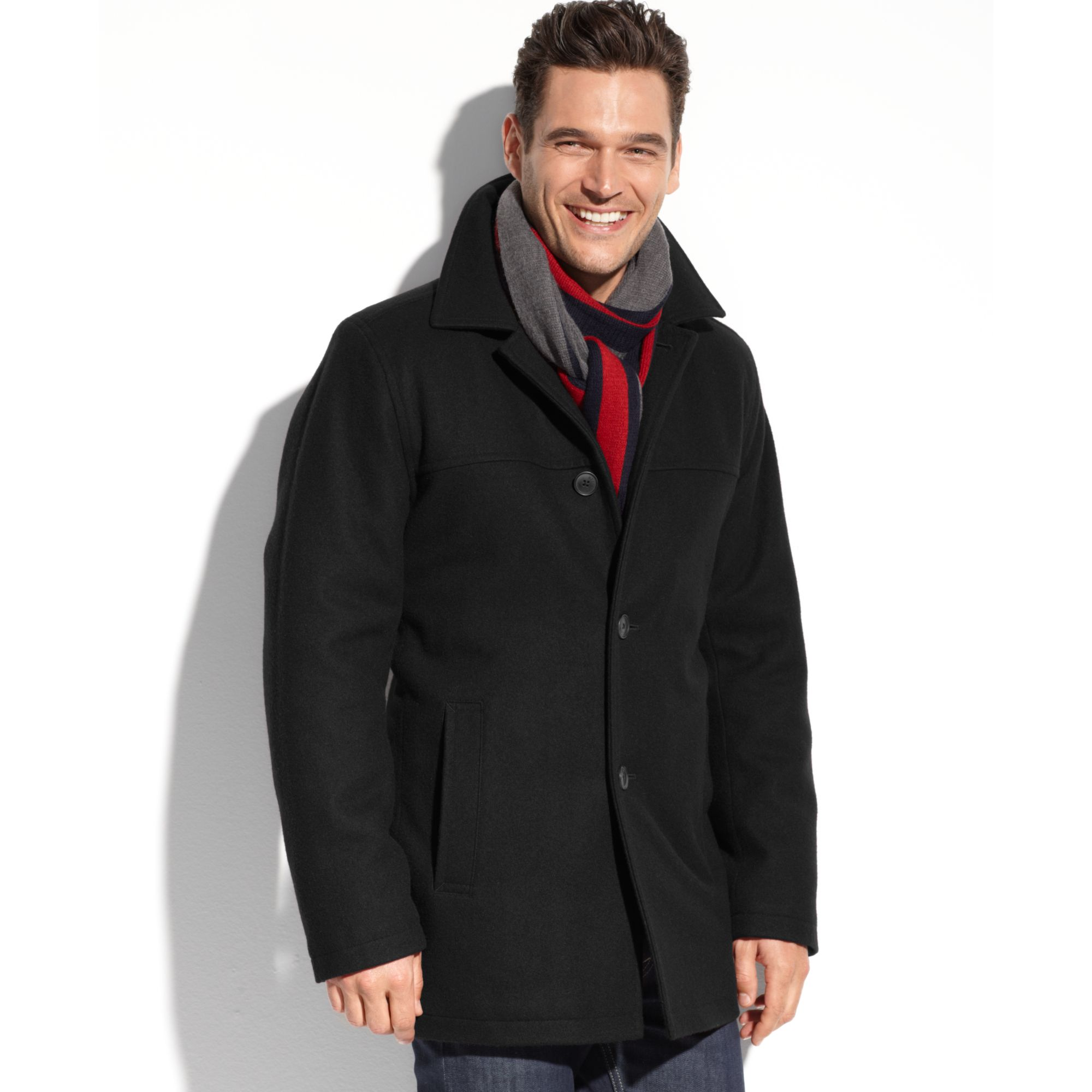 Tommy hilfiger Melton Wool Blend Walking Coat in Black for Men | Lyst