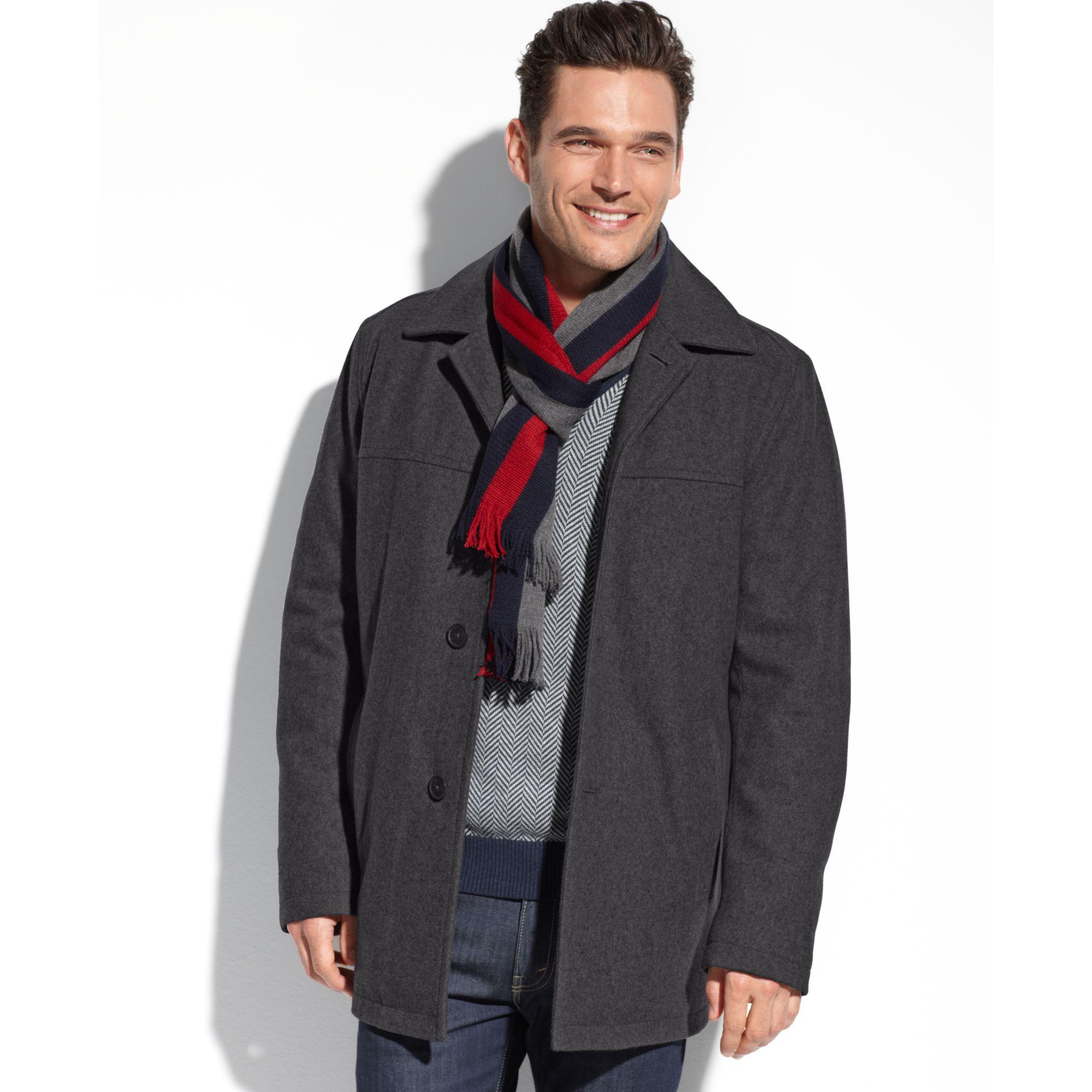 Tommy hilfiger Melton Wool Blend Walking Coat in Gray for Men | Lyst