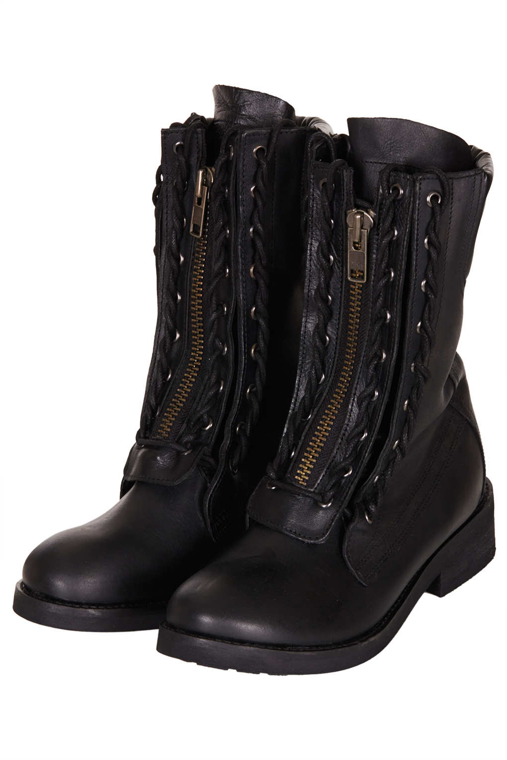 Topshop Ask Lace Up Biker Boots In Black - Lyst-3127