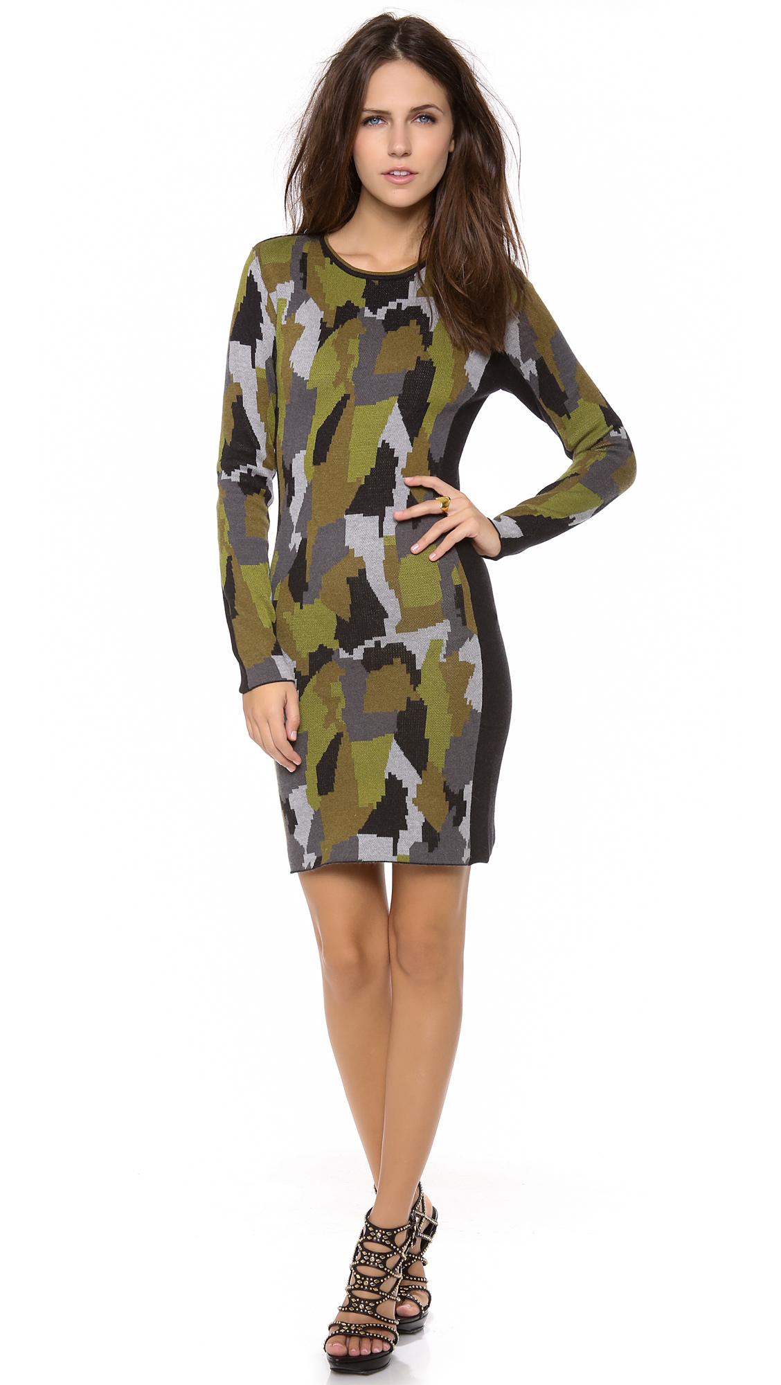 Lyst Torn By Ronny Kobo Taylor Camouflage Dress In Brown