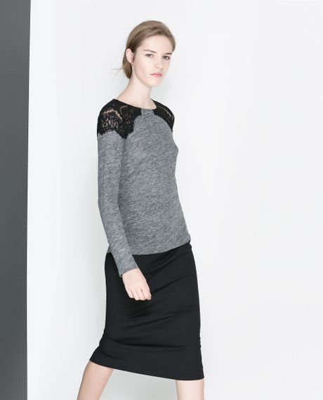 Zara T Shirt With Lace Shoulders In Gray Grey Marl Lyst