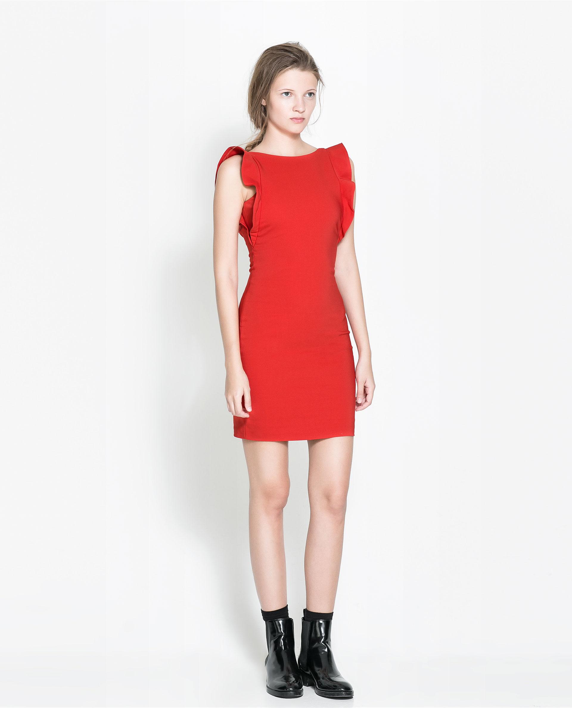 Zara Sleeveless Tube Dress with Ruffles in Red - Lyst