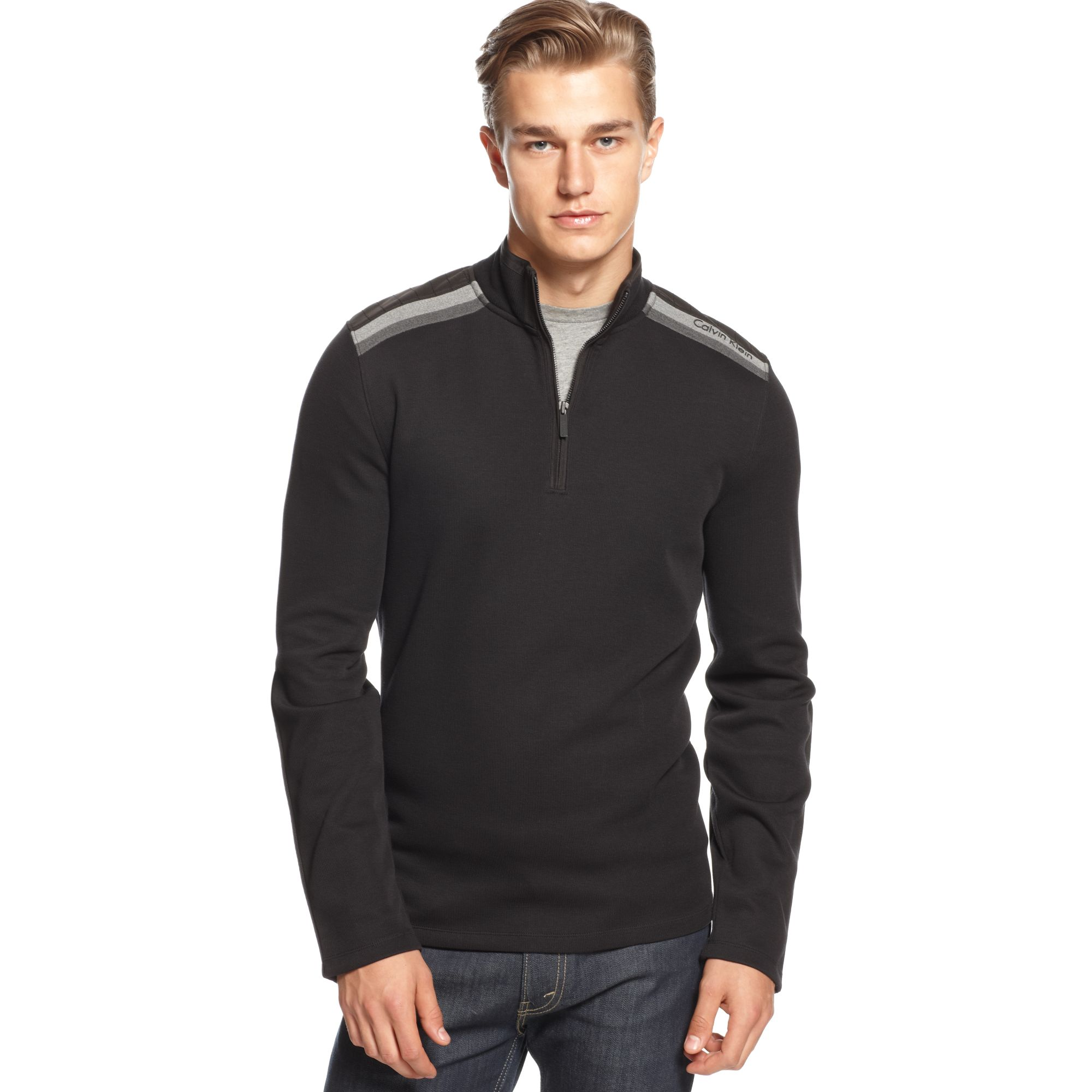 calvin klein mixed media french rib quarter zipper sweater in black for men lyst. Black Bedroom Furniture Sets. Home Design Ideas