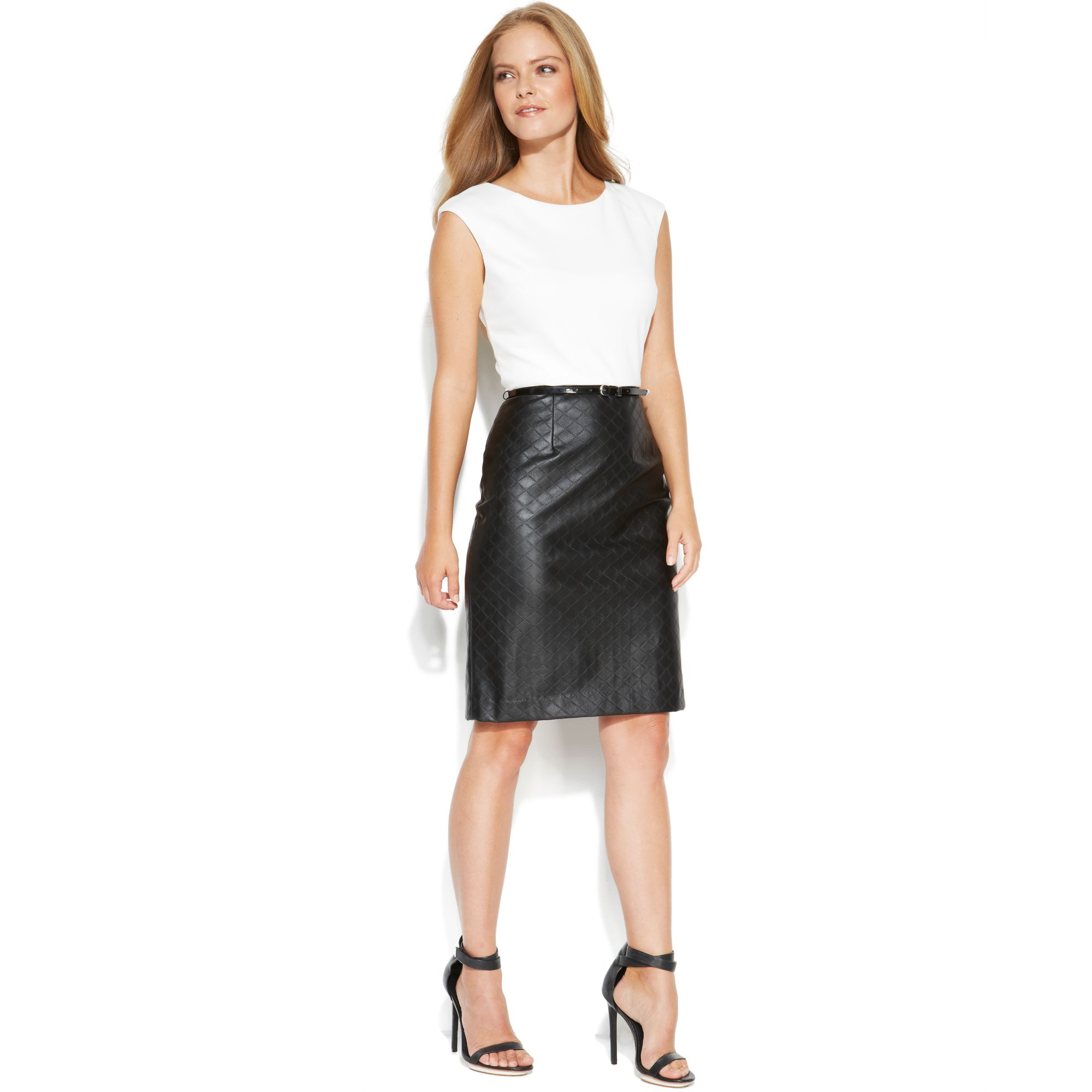 Calvin klein Sleeveless Colorblock Belted Dress with Faux Leather ...