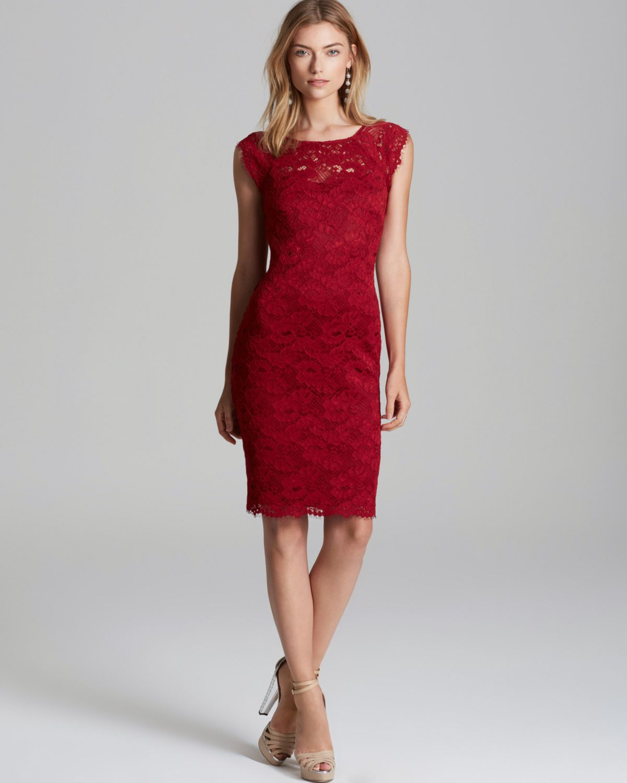 4ff68dbb Laundry by Shelli Segal Lace Sheath Dress in Red - Lyst