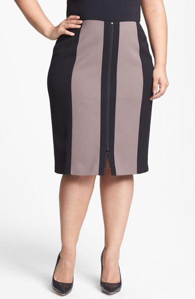 sejour front zip twill pencil skirt in purple taupe dusk. Black Bedroom Furniture Sets. Home Design Ideas