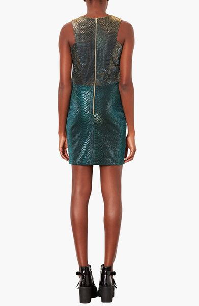 Topshop Cutout Snake Print Bodycon Dress In Green