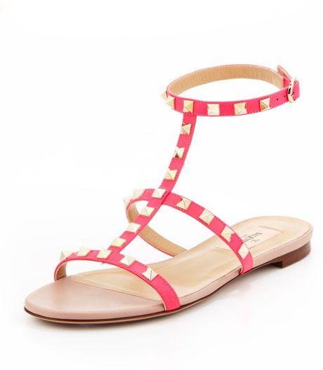 2a0e7271fa5753 Valentino Rockstud Singlewrap Gladiator Sandal Pink in Pink