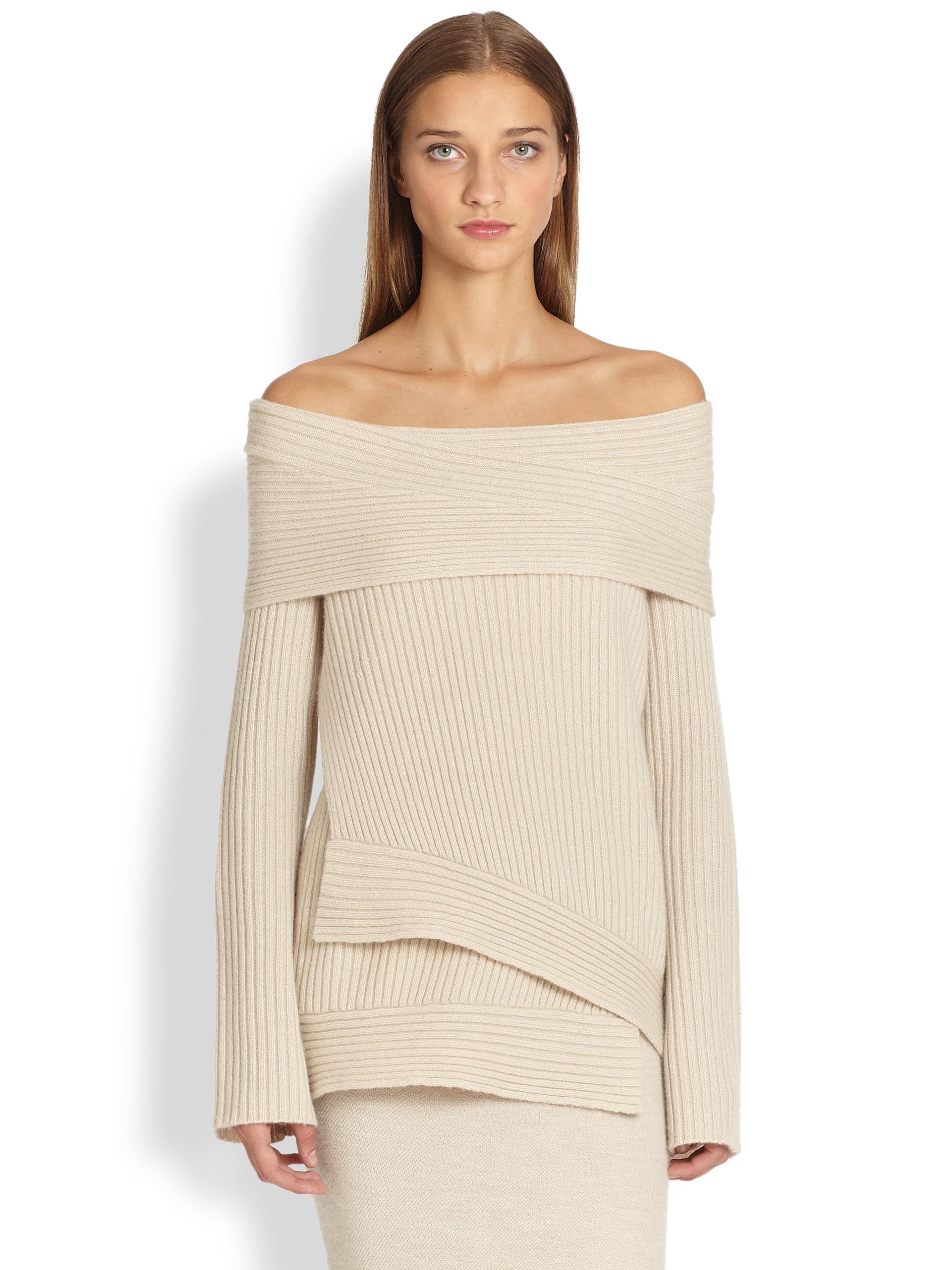 donna karan cashmere offtheshoulder sweater in natural lyst. Black Bedroom Furniture Sets. Home Design Ideas