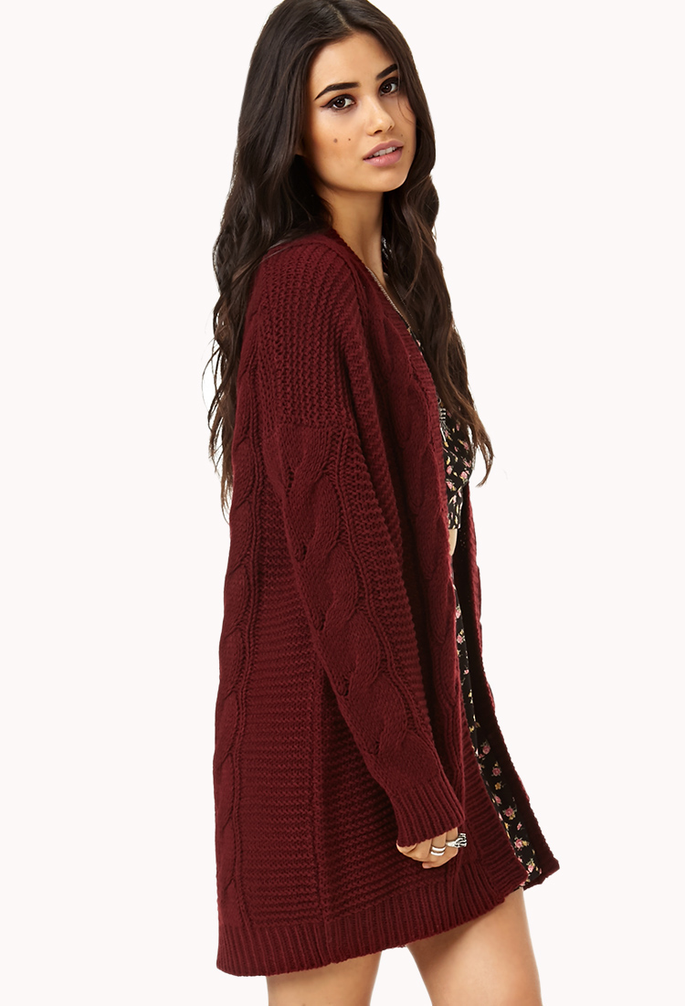 Forever 21 Longline Mixed Knit Cardigan in Purple Lyst
