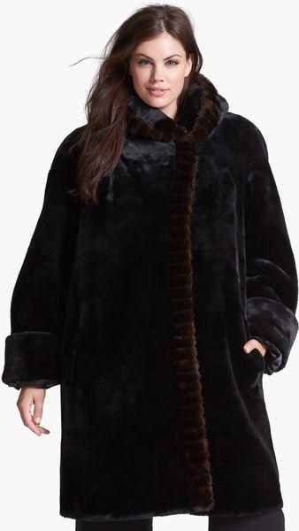 Gallery Hooded Faux Fur Walking Coat In Black Lyst