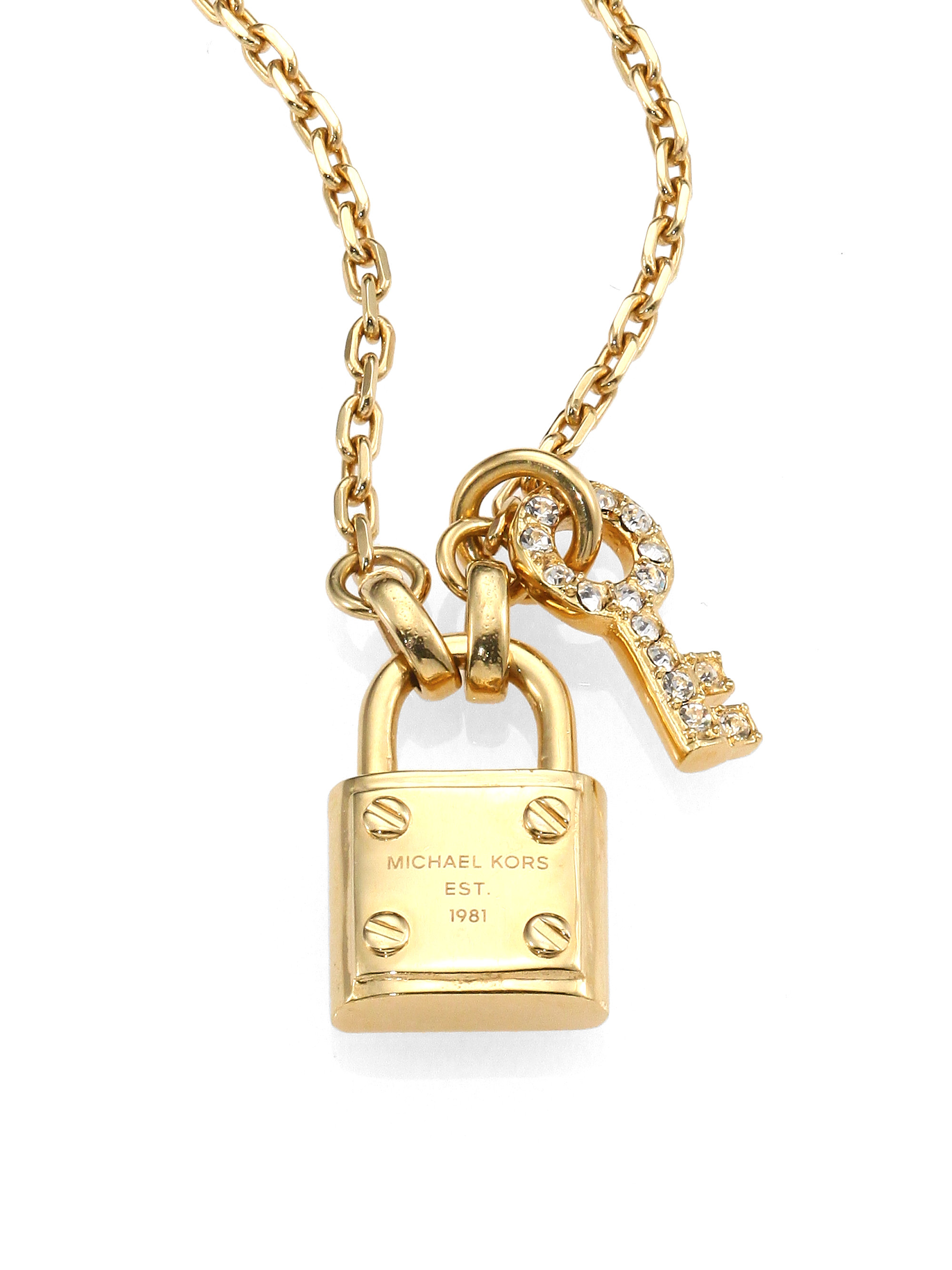michael kors padlock key pendant necklace in metallic lyst