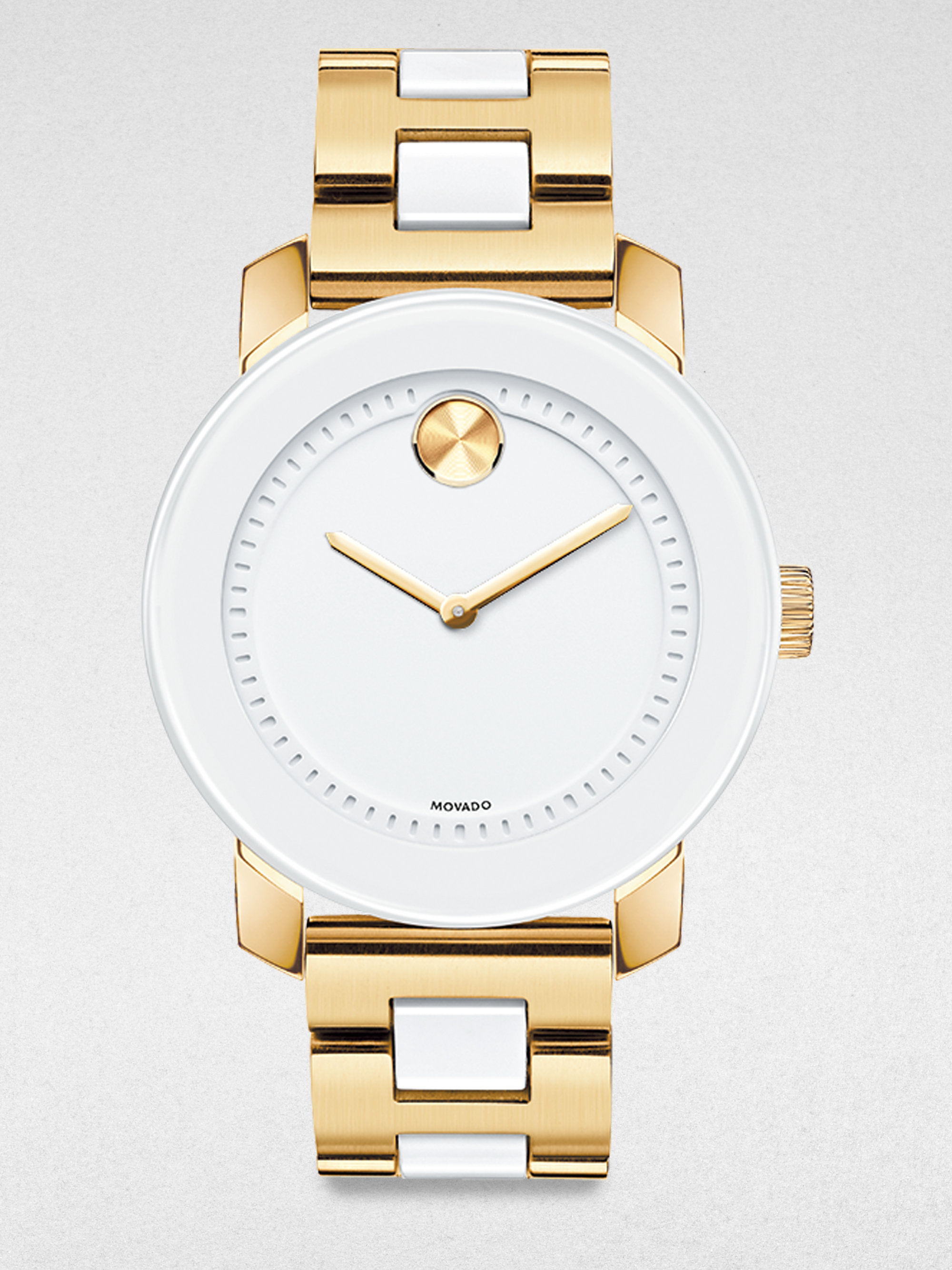 movado gold tone ip stainless steel in white gold