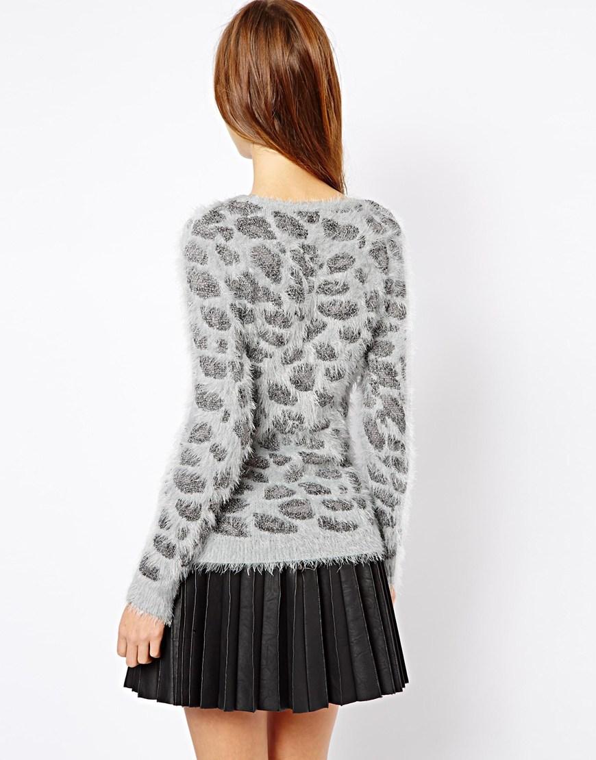 Lyst Asos Leopard Sweater In Gray