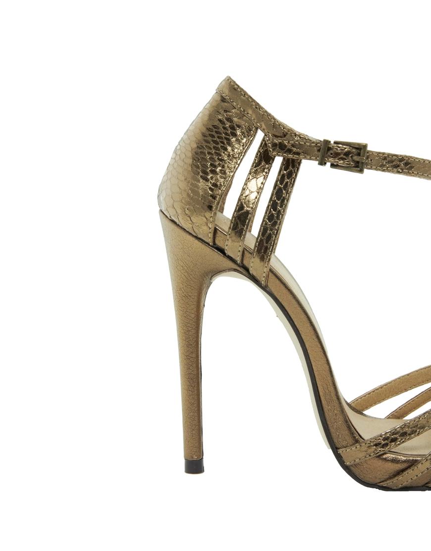 a37958033 Lyst - Steve Madden Asos Handwritten Heeled Sandals in Metallic