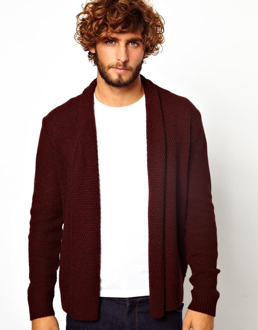 Asos Cardigan in Textured Yarn in Red for Men | Lyst