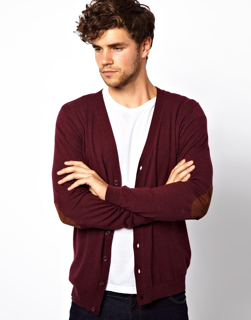 32cc60c0695 ASOS Purple Cardigan with Elbow Patches for men